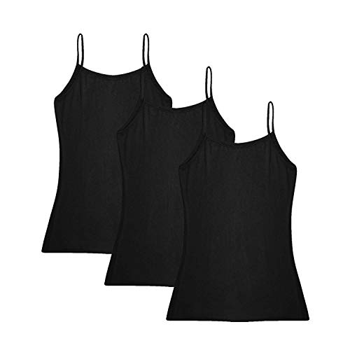 (Oulinect Women's Basic Solid Adjustable Spaghetti Strap Tank Top 2-4 Pack Cotton Camisole Cami Tank Tops M)