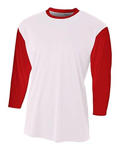 White/Red Adult Small 3/4 Sleeve Baseball/Softball Raglan Utility Shirt