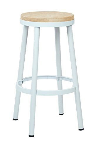 OSP Home Furnishings Bristow Antique Metal Barstool with Ash Wood Seat, 30-inch, White Frame
