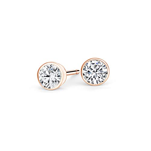 bbamjewelry Certified 1 CT. TW. Bezel-Set Round Cut Real Moissanite Solitaire Stud Earrings In Solid 14K Rose Gold
