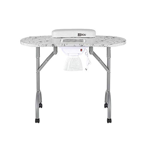 LEIBOU Professional Folding Portable Vented Beauty Manicure Table Nail Desk Salon Spa With Fan &Bag (35''x 16''x 28'') (white)
