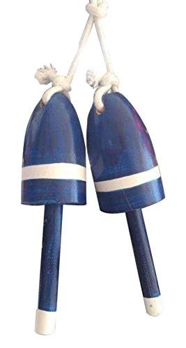 Hampton Nautical 3xglass-101 Set of 2-Wooden Dark Blue Decorative Maine Lobster Trap Buoy Christmas 7-Holiday Ornament 7