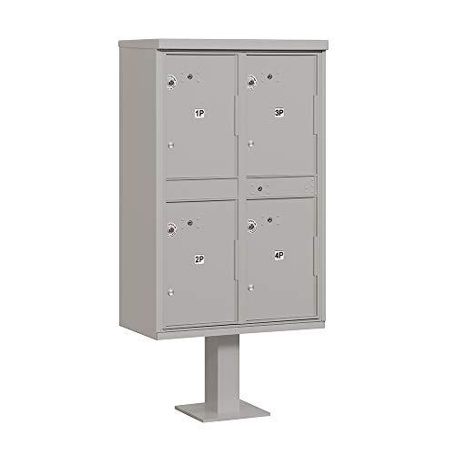Access Locker Aluminum Parcel Usps - Salsbury Industries 3304GRY-U Outdoor 4 Compartments-USPS Access Parcel Locker, Gray