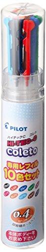Pilot Gel Ballpoint Pen Hi-Tec-C Coleto 0.4 Refill 10 Color Set (LHKRF1SC410C)