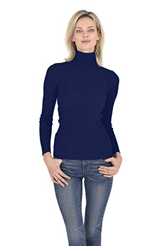 Cashmeren Women's 100% Pure Cashmere Classic Knit Soft Long Sleeve Ribbed Turtleneck Pullover Sweater (Navy, Large)