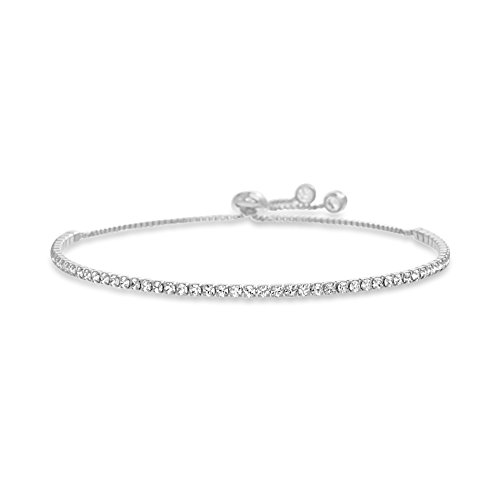 - Devin Rose Adjustable Bolo Style Tennis Bracelet for Women Made with 2mm Swarovski Crystal in Rhodium Plated Brass (White)