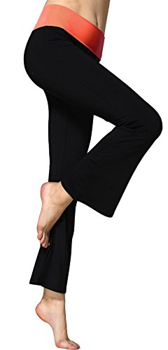 (Sugar Pocket Women's Fold Over Waistband Bootleg Yoga Pants X-Large(Rose))