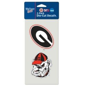 """Georgia Bulldogs Logo Die Cut Decals 2-Pack 4"""" x 8"""" (Colored)"""