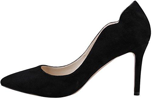 8 5cm Femme Noir Chaussures Sur Calaier Aiguille Cajust Glisser Escarpins HCASSq