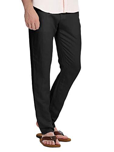 Mens Linen Pants Beach Yoga Casual Slim Fit Work Elastic Waist Pockets Button Plain Cargo Summer Trousers Black