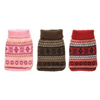 New York Dog Nordic Fair Isle Knit Pattern Mock Neck Sweater – Pink, Small, My Pet Supplies