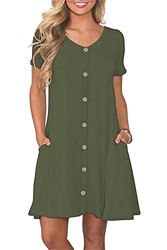 Manydress Women's Summer Casual T Shirt Dresses Short Sleeve Button Down Swing Dress with Pockets MY035 (Army Green, M) ()