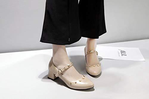 à va chaussures talon vous rivet la d'orteil simples aiguilles peu profonds rendez sangle carré Adong pour blanc 37eu cheville femme pointue main talons et perle travailler 05Bqxzw