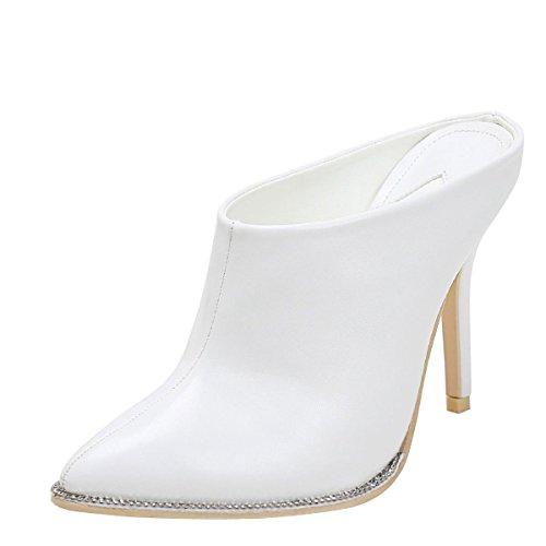 Mackin J Womens Pointy Toe Rhinestone Trim Stiletto Heel Slide Booties Mules Clog Pump Shoes 11 White (Rhinestone Slide Trim)