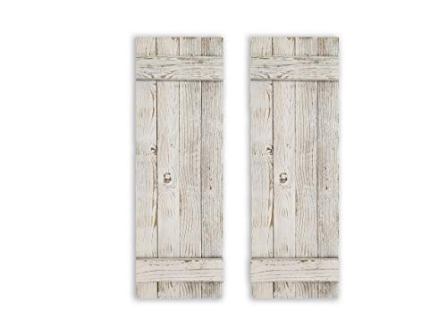 Rustic White Decorative Barn Wood Shutter Set Of 2 For Wall Decor, Window Accents - Add That Touch of Barn Wood Style and Rustic Decor To Any Room - Great for Home Decor and Rustic Decor