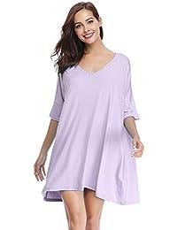 Women s V-Neck Short Sleeve T-Shirt Dress Loose Nightshirt Sleepwear e58c9e1f1