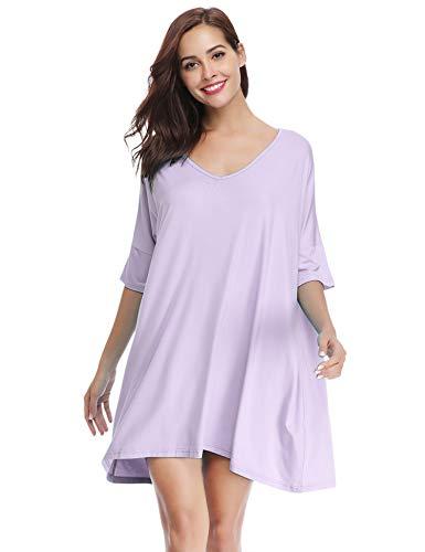 Aibrou Women's V-Neck Short Sleeve T-Shirt Dress Loose Nightshirt Sleepwear Light Purple