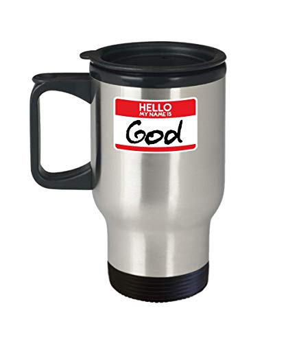 My Name Is God Simple Halloween Costume Idea Funny Messiah Jesus Christians Catholics Religion Religious Travel Mug -