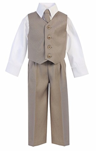 (iGirlDress Baby Boys Vest Pants Special Occasion Easter Outfit Set 9-12mo Khaki)