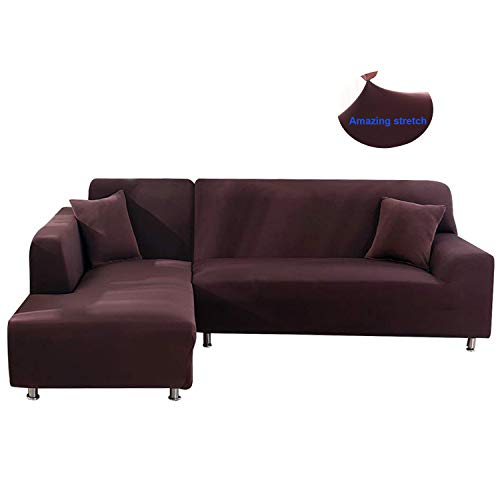 Mingfuxin L Shape Sofa Cover Stretch Elastic Fabric Sofa Sectional Corner Couch Covers Home Décor for Living Room(Coffee) (L Shape Leather Sofa)