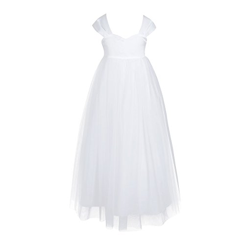 Christening Dress Tulle Satin (iEFiEL Girls Tulle Flower Girl Dress Princess Pageant Wedding Bridesmaid Gown White 4)