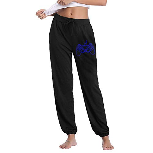 Playstation Controller Women's Drawstring Casual Yoga Workout Sweatpants Pants Black