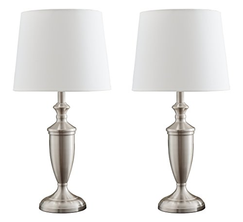 Kings Brand Brushed Nickel Finish Metal/White Fabric Shade Table Lamps, Set of 2