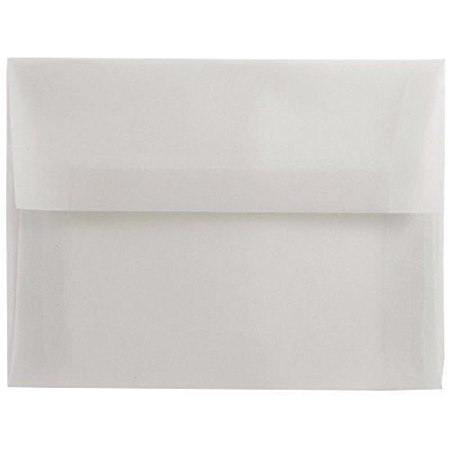 "JAM Paper A7 Invitation Envelope - 5 1/4"" x 7 1/4"" - Clear Translucent Vellum - 25/pack"