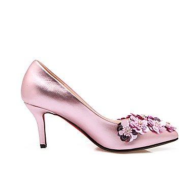 Talones de las mujeres Primavera Verano Otoño Invierno Otro de cuero banquete de boda y vestido de noche del tacón de aguja de la astilla de la flor rosa rosa de oro rosa Pink