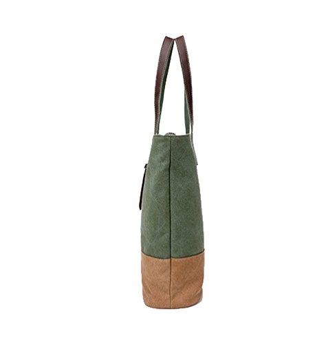 LINNUO Moda Bolso de Mano de Lona para Mujer Tote Bolsa de Bandolera Decoración del Cinturón Verde