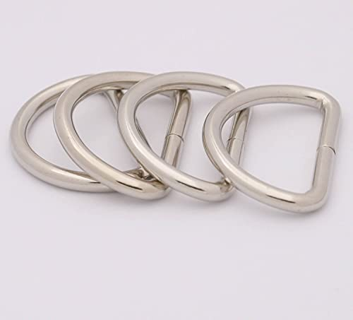 BIKICOCO Metal D-Rings Buckle, 3.2CM Non-Welded for Webbing Sewing DIY - Silver - Pack of 20