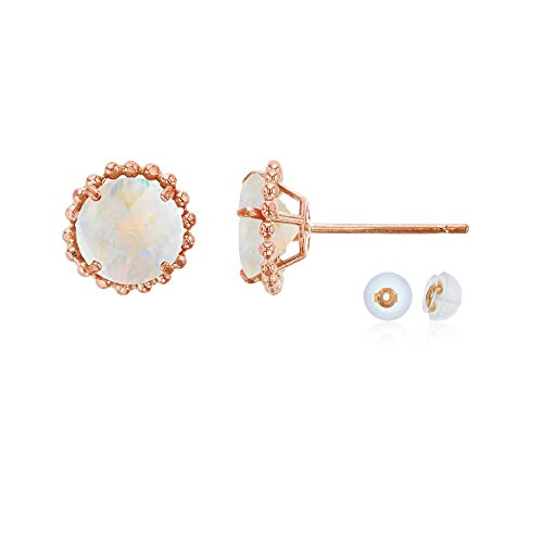 10K Rose Gold 5mm Round Created Opal with Bead Frame Stud Earring with Silicone Back