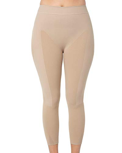Leonisa Max Power Extra-High-Waisted Firm Compression Shapewear Leggings Activewear Pants for Women Beige ()