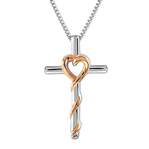 GEORGE · SMITH Rose Gold 925 Sterling Silver Heart Pendant Necklace Mothers Day Necklace Jewelry Gifts for Women