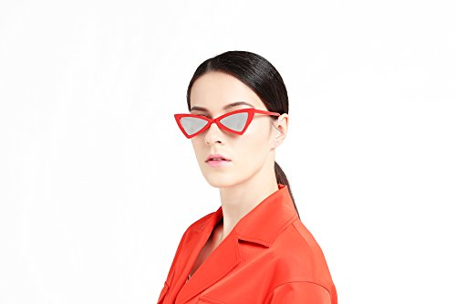 SUERTREE Cat Eye Sunglasses - Plastic - Triangle - Boxed Packing - with Cloth Storage Red Frame Silver - Uk Frame Clothing