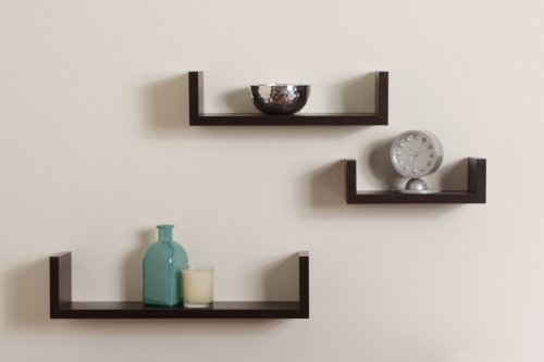 danya b xf11039 set of 3 floating u shelves finish walnut - Wall Mounted Bookcase
