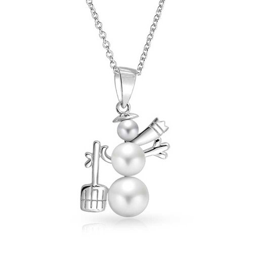Winter White Simulated Pearl Holiday Christmas Snowman Pendant Necklace For Teen For Women