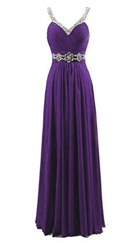 Vantexi Women's Beaded Straps Chiffon Long Bridesmaid Prom Dress Purple 10
