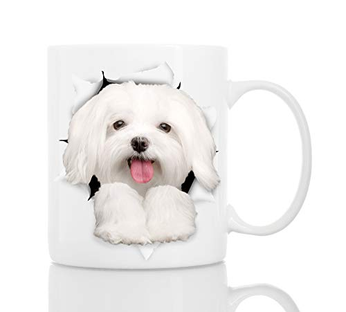 Funny Maltese Dog Mug - Ceramic Funny Coffee Mug - Perfect Dog Lover Gift - Cute Novelty Coffee Mug Present - Great Birthday or Christmas Surprise for Friend or Coworker, Men and Women (11oz)