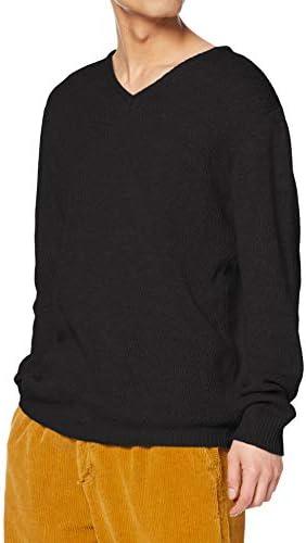 Vネック ニット ハニカムメッシュ セーター 長袖 ゆったり 薄手 暖かい メンズ