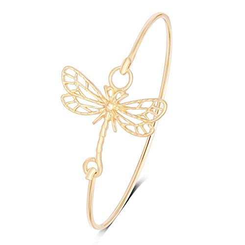 SENFAI New Hollowed-Out Dragonfly Easy Opening Bangle Bracelet Jewelry for Elegant Women (Gold 2)