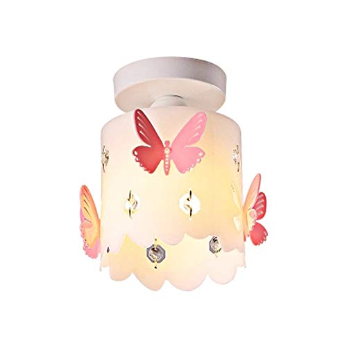 Kids Chandeliers for Girls Room, Modern Pink Butterfly Round Style Ceiling Light Contemporary Acrylic Lampshade Pendant Ceiling Lamp Corridor Decoration Small Aisle Balcony Bedroom Light Fixture E12 (Children Shades Butterfly Light For)