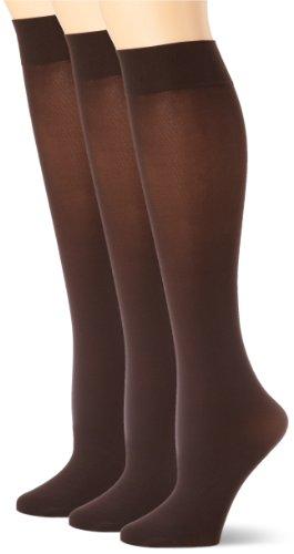 HUE Women's Soft Opaque Knee High Socks (Pack of 3),Espresso,1 -