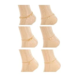 REVOLIA 6Pcs Charm Anklets for Women Girls Bracelets Sexy Beach Anklets Foot Jewelry Adjustable