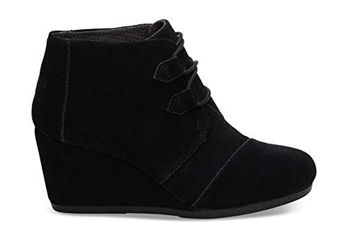 TOMS Womens Kala Black Suede 10 B (M) (Black Lace Up Ankle Boots With Heel)