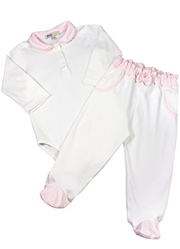 - Baby Girls' Pink White Crochet Collar Bodysuit & Pant Set - 100% Pima Cotton 9-12 Months
