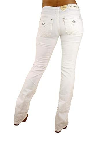 LA Idol Classic Rhinestone Studded White Denim Bootcut Jeans - Waist 11