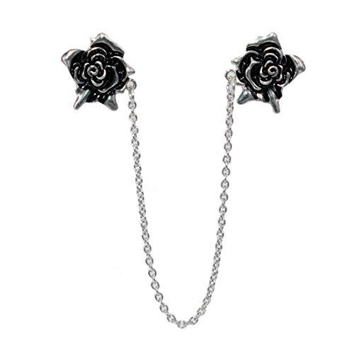 Laffeya Vintage Rose Sweater Clips Shawl Cardigan Collar Metal Clip Holder Clothing Collar Pins Clip for Women