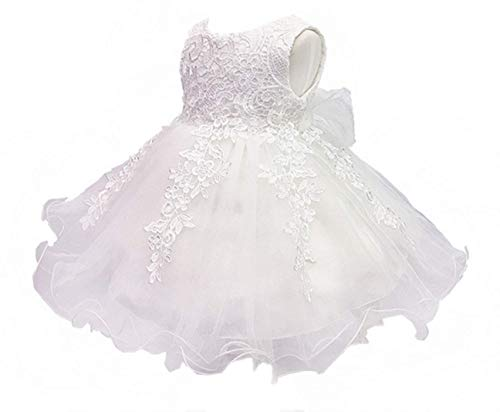 H.X Baby Girl's Lace Gauze Christening Baptism Wedding Dress with Petticoat (24M/Fit 18-24 months, Ivory) ()