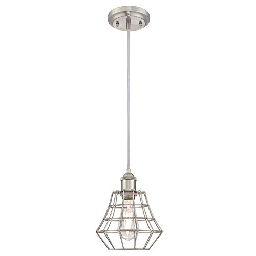 Westinghouse 6337200 Nathaniel One-Light Indoor Mini Pendant, Brushed Nickel Finish with Angled Bell Cage Shade (Nickel Mini Brushed Pendant)